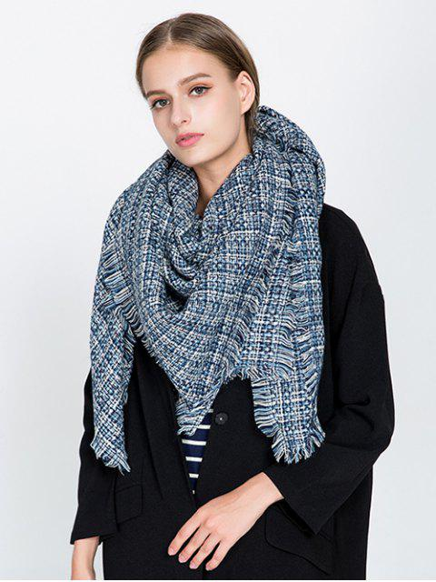 online Small Plaid Fringed Blanket Scarf - CADETBLUE  Mobile