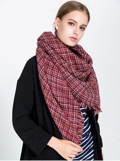 hot Small Plaid Fringed Blanket Scarf - WINE RED  Mobile