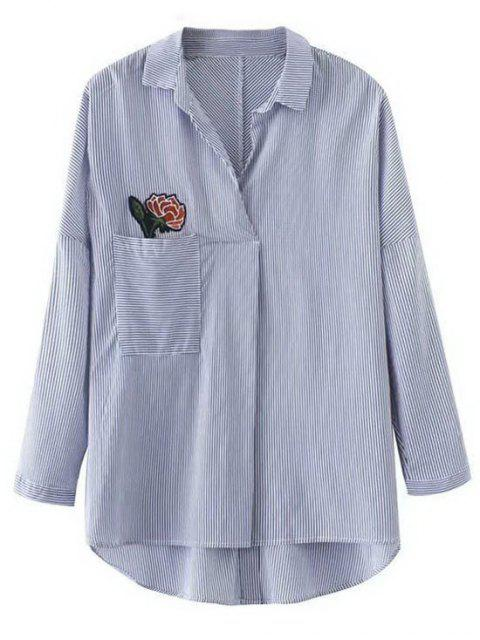 outfits Striped Flower Applique Oversized Shirt - STRIPE L Mobile