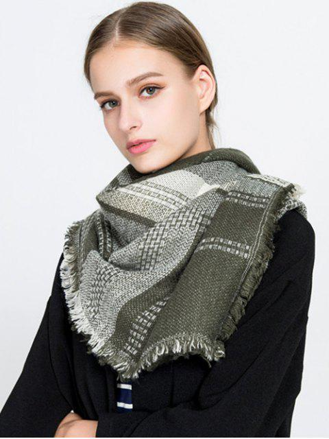 womens Fringed Plaid Knit Blanket Scarf - ARMY GREEN  Mobile