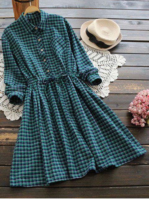 online Drawstring Waist Tartan Pocket Flare Dress - GREEN ONE SIZE Mobile