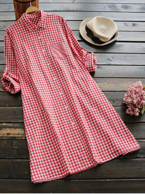 outfits Button Up Plaid Pocket Dress - RED ONE SIZE Mobile