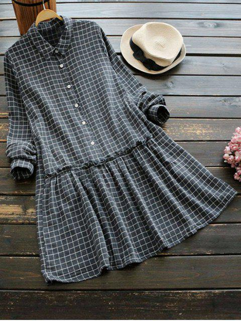 lady Long Sleeve Checked Shirt Dress - DEEP GRAY ONE SIZE Mobile