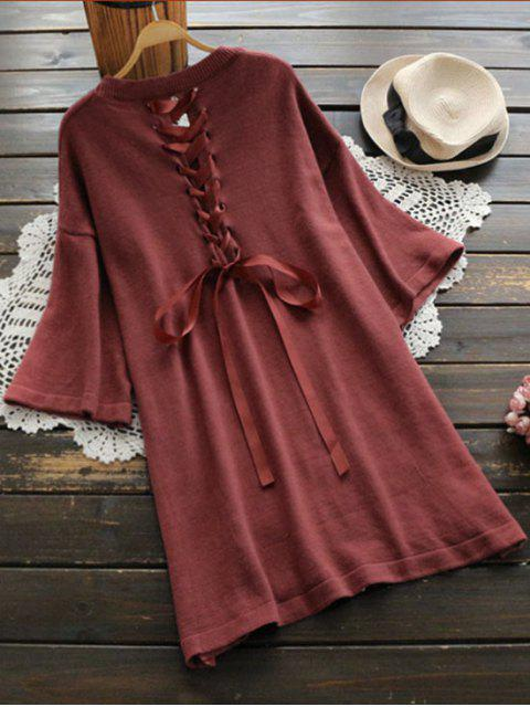 online Back Lace Up Side Slit Sweater Dress - BRICK-RED ONE SIZE Mobile