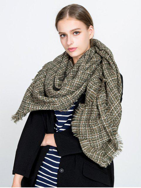 Pequeña bufanda de manta franjada de tela escocesa - Verde  Mobile