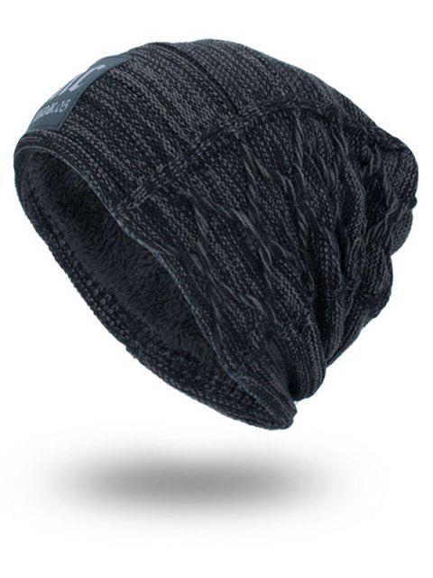 Espesar el sombrero del Knit de la Doble-Cubierta con la etiqueta de las letras - Gris Oscuro  Mobile