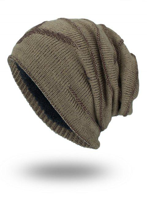 Doble-cubierta Thicken NY Knit Hat - Caqui  Mobile