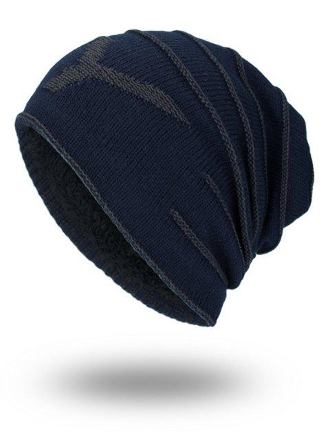 Doble-cubierta Thicken NY Knit Hat - Azul Purpúreo  Mobile