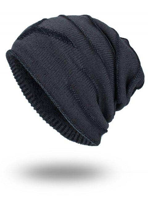 Doble-cubierta Thicken NY Knit Hat - GRIS OSCURO  Mobile
