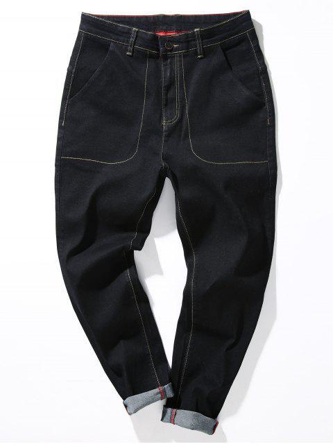 Zipper Fliegen Lose Fit Naht Taschen Harem Jeans - Schwarz 30 Mobile