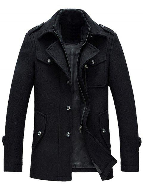 fashion Epaulet Design Wool Blend Faux Twinset Jacket - BLACK M Mobile