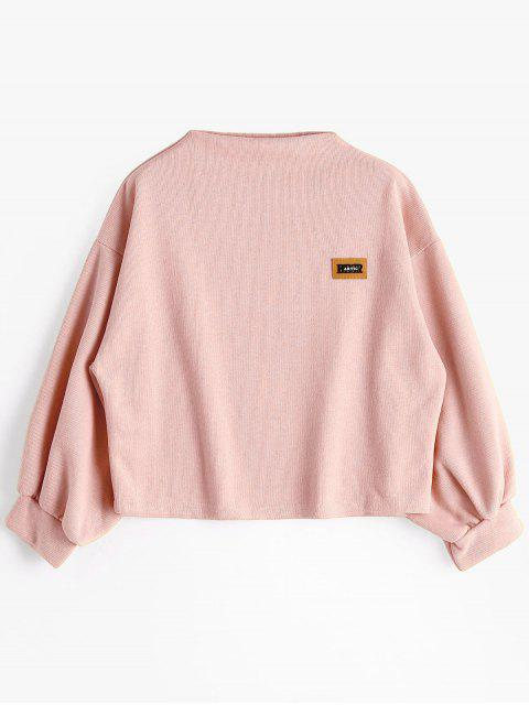 Insignia Patched Lantern Sleeve Sweatshirt - Rosa Única Talla Mobile
