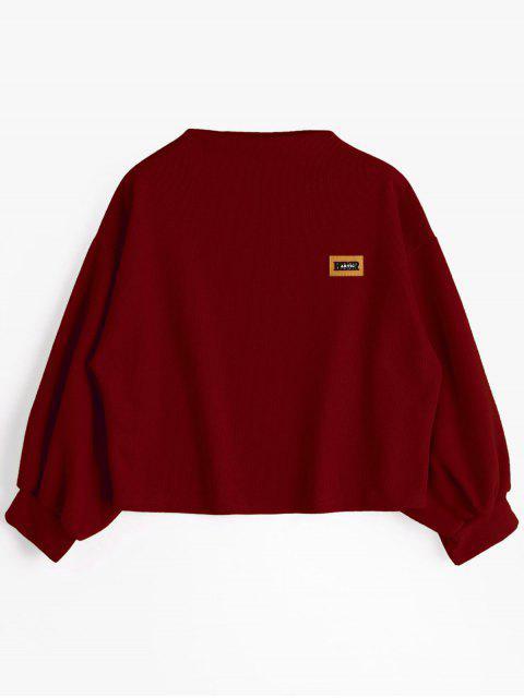 Insignia Patched Lantern Sleeve Sweatshirt - Rojo oscuro Única Talla Mobile