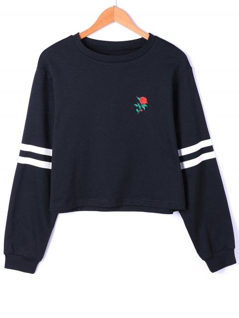shops Drop Shoulder Stripes Floral Embroidered Pullover Sweatshirt - WHITE AND BLACK 2XL Mobile