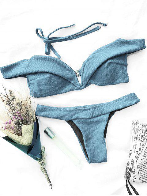 shops V Plunge Off The Shoulder Bikini Swimwear - LIGHT BLUE S Mobile