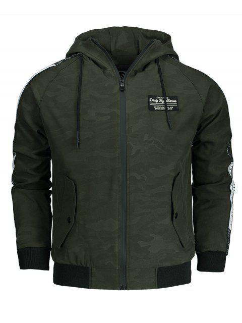Veste à Capuche Camouflage à Imprimé Lettre - Vert Armée 2XL Mobile