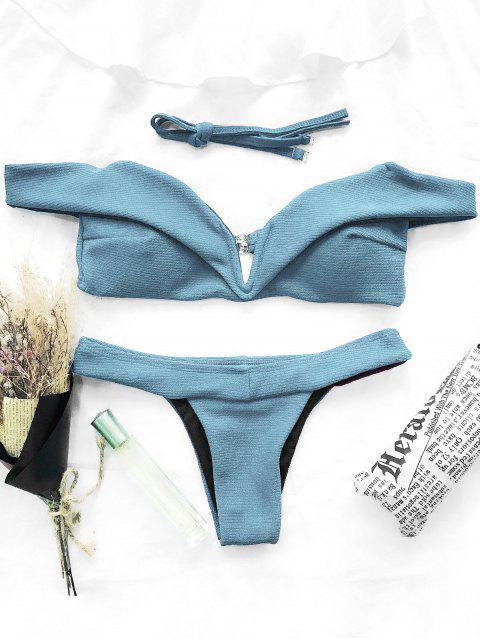 hot V Plunge Off The Shoulder Bikini Swimwear - LIGHT BLUE L Mobile