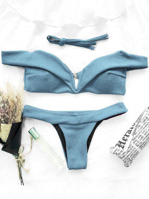 outfits V Plunge Off The Shoulder Bikini Swimwear - LIGHT BLUE M Mobile