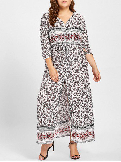 Robe Imprimée Géométrique à Fente Grande Taille - Blanc XL Mobile