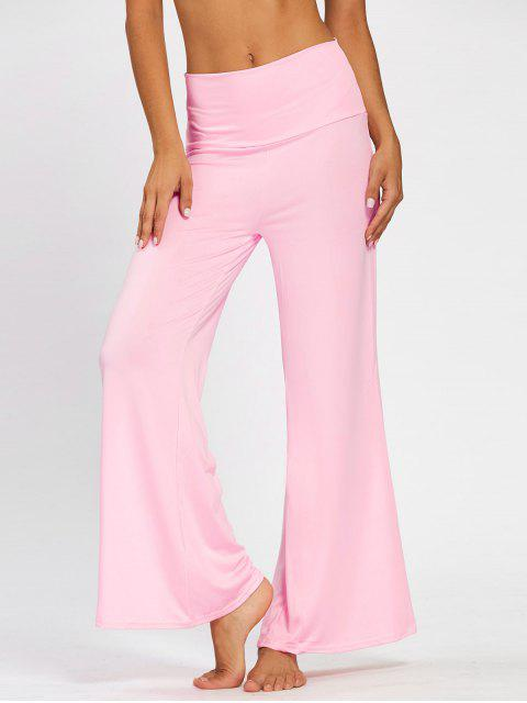women's Plain Flare Pants with Wide High Waistband - PINK L Mobile