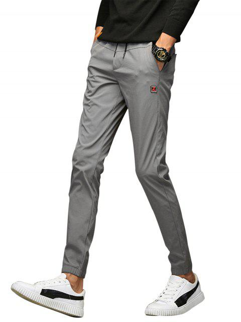 affordable Applique Drawstring Beam Feet Jogger Pants - GRAY 34 Mobile