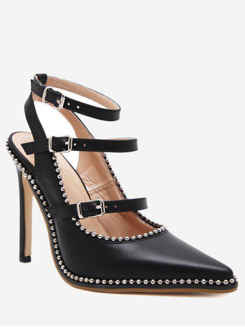 chic Buckle Straps Stud Ankle Strap Pumps - BLACK 37 Mobile