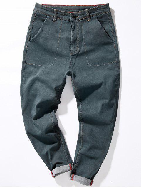 online Zipper Fly Loose Fit Suture Pockets Harem Jeans - GRAY 36 Mobile