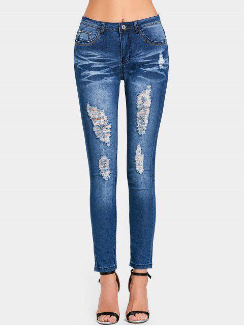 Zerrissene High Waist Skinny Jeans - Dunkelblau M Mobile