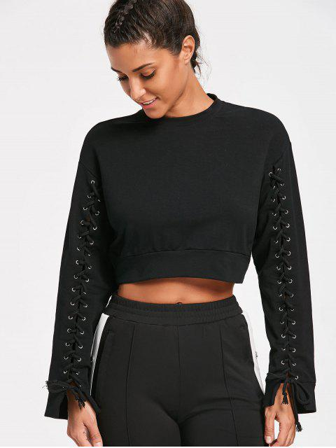 outfit Lace Up Sleeve Crop Sweatshirt - BLACK M Mobile