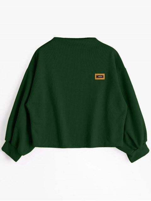 Insignia Patched Lantern Sleeve Sweatshirt - Verde negruzco Talla única Mobile