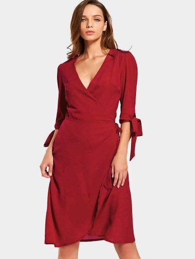 Plunging Neck Plain Wrap Dress - Red S