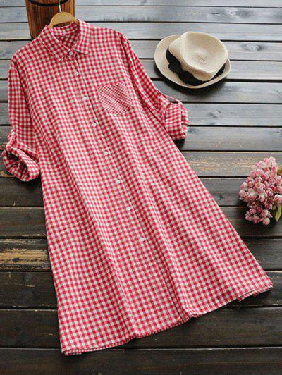 Button Up Checked Pocket Shirt Dress - Red