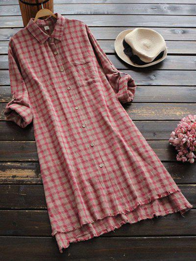 Frayed Hem Slit High Low Checked Dress - Red