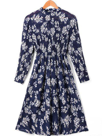 Floral Print High Waist  Pleated Dress With Sleeves - S