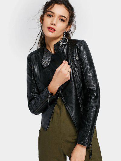 Asymmetric Zippered Faux Leather Jacket - Black 2xl
