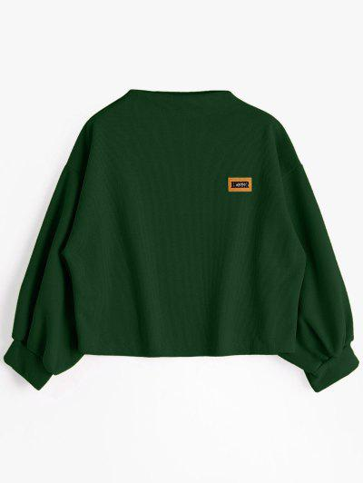 Badge Patched Lantern Sleeve Sweatshirt - Blackish Green