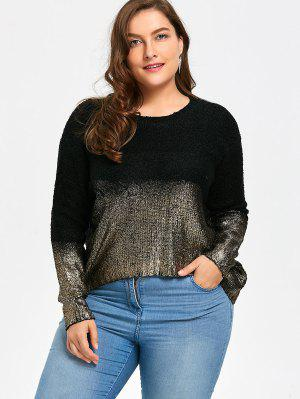 Ombre Glitter Asymmetric Plus Size Sweater