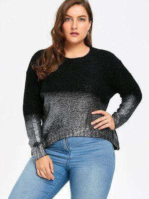Plus Size Ombre Glitter Asymmetric Sweater
