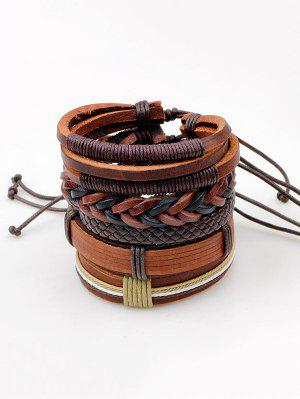 Vintage Faux Leather Layered Bracelets