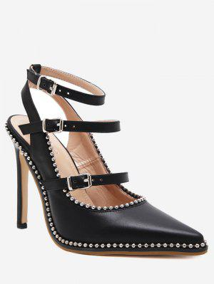 Buckle Straps Stud Ankle Strap Pumps