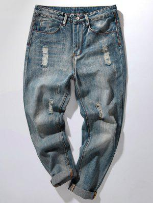 Zipper Fly Bleach Wash Distressed Harem Jeans