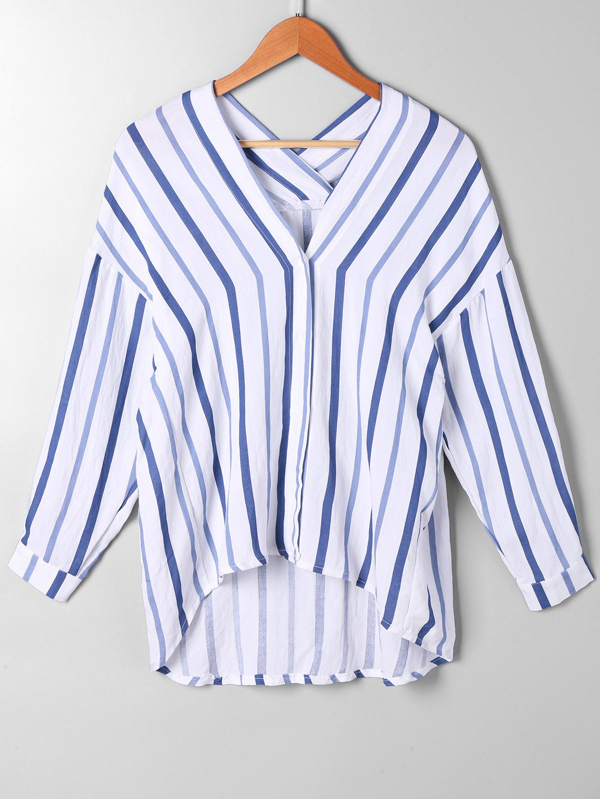 High Low Drop Schulter Striped Bluse