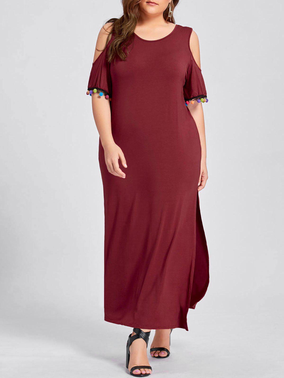 Plus Size Cold Shoulder Pom Slit Maxi Dress