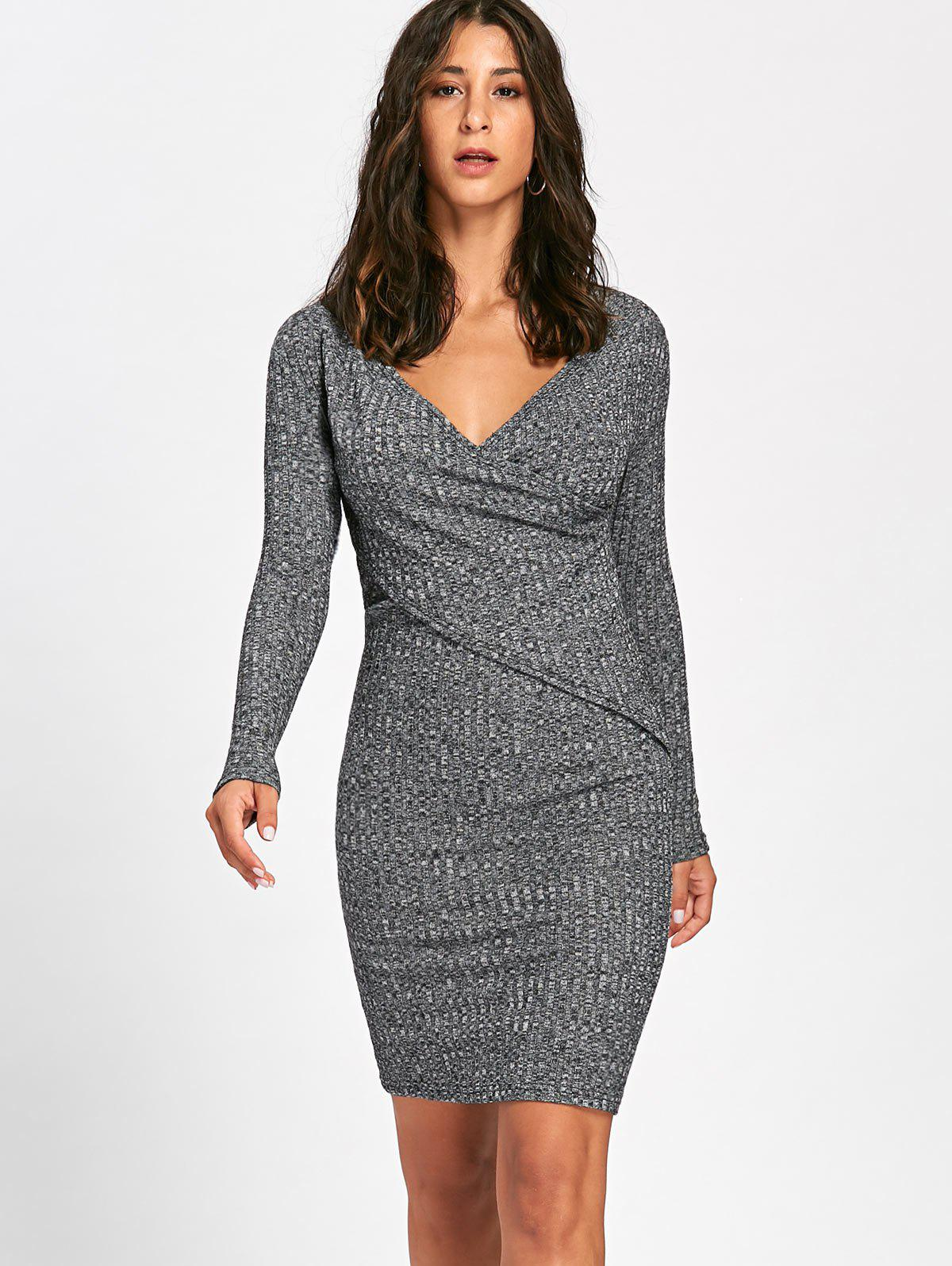 Long Sleeve Ribbed Surplice Knit Dress 225643904