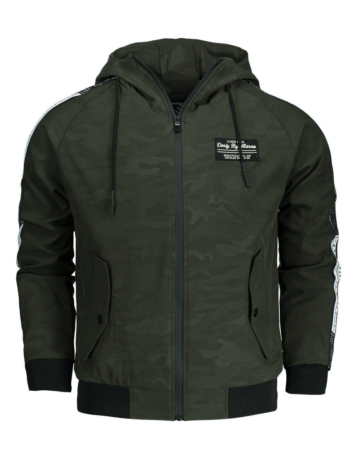 Side Letter Print Camo Hooded Jacket Men Clothes 221805310