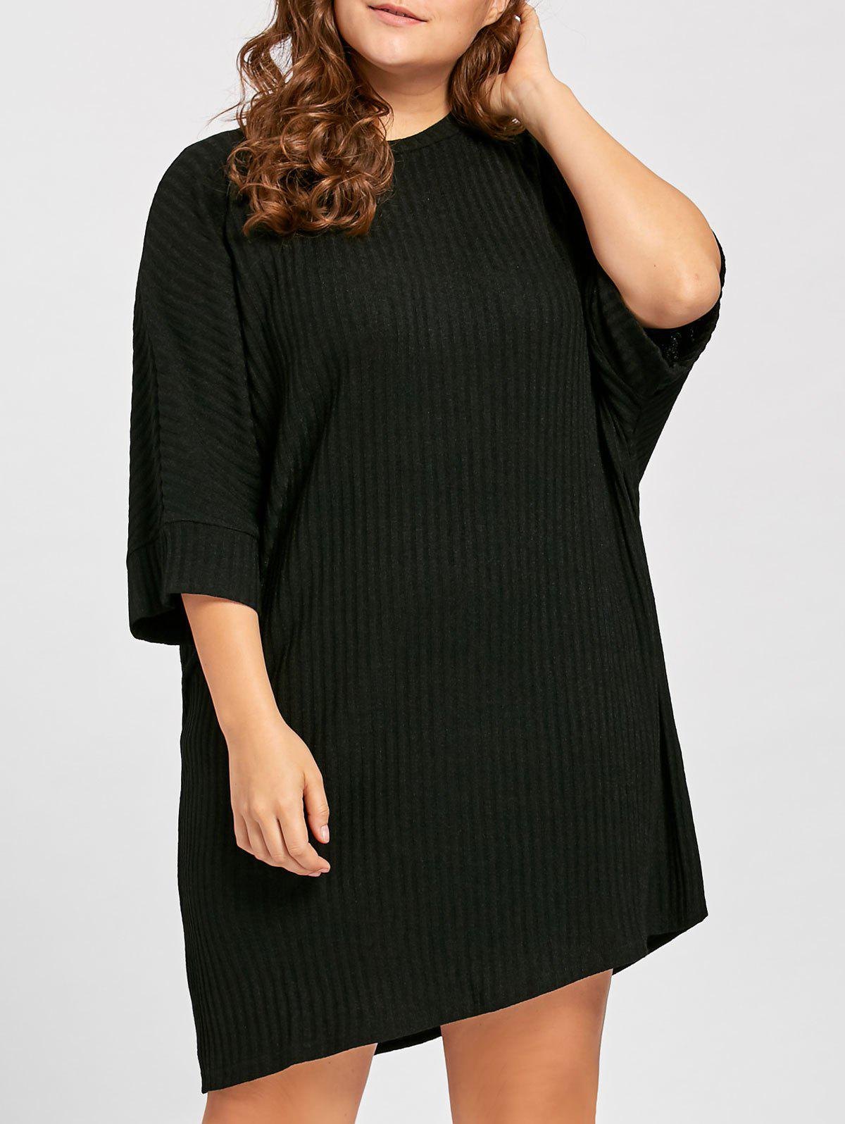 Plus Size Ribbed Knitted Tunic T shirt 227638703
