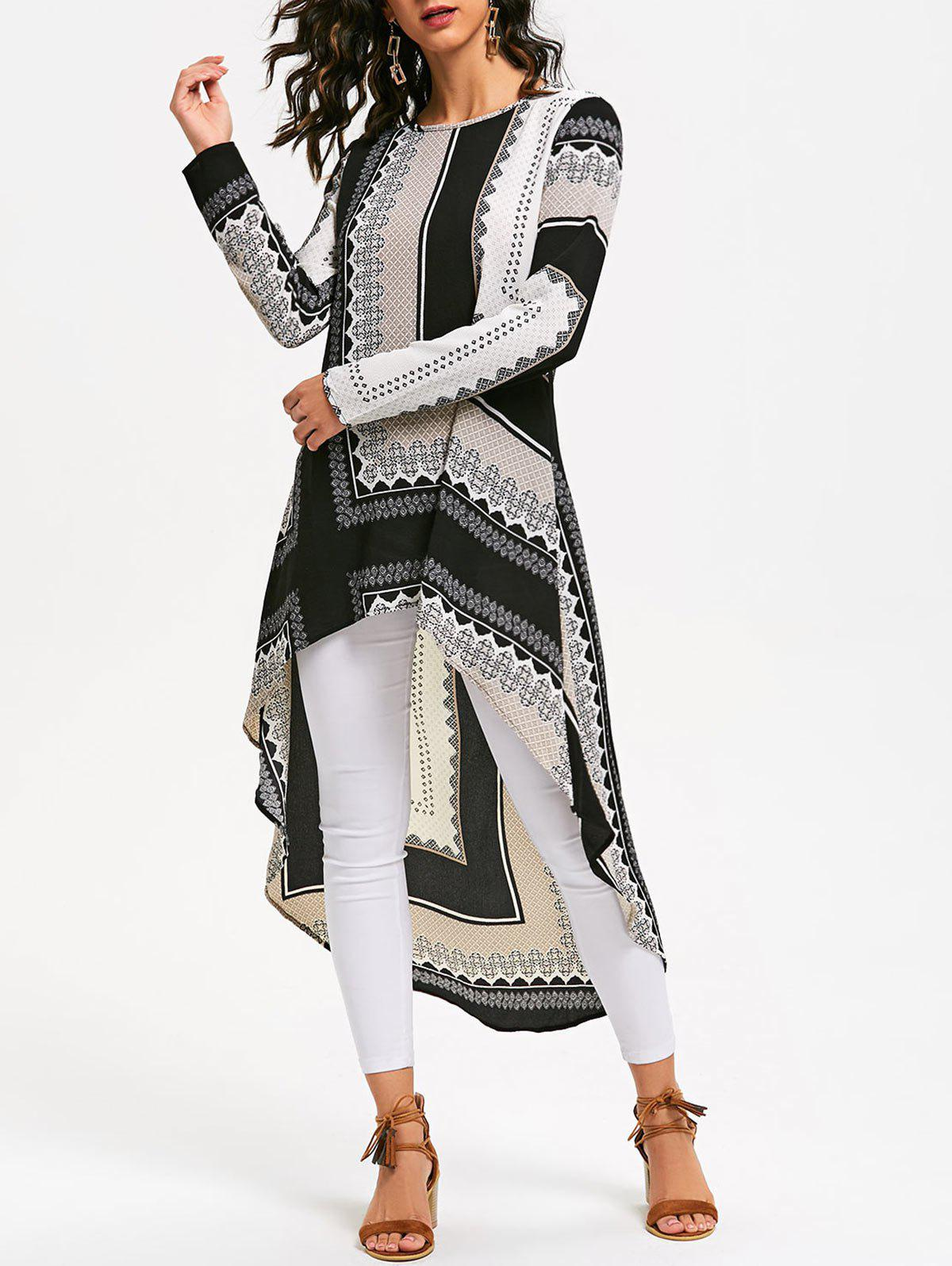 Tribal Print High Low Long Sleeve Dress 222005101