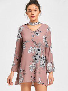 Vestido De Choker Floral - Color De Raíz De Loto   M