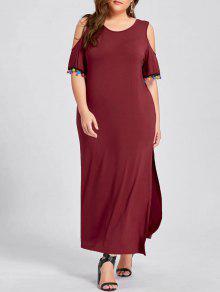 فستان الحجم الكبير باردة الكتف انقسام ماكسي - نبيذ أحمر 4xl