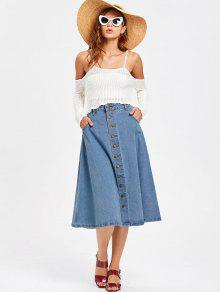 3640c4d546 32% OFF] 2019 Denim Button Up Midi Skirt In DENIM BLUE | ZAFUL